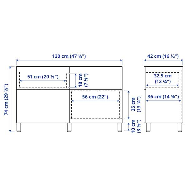 BESTÅ Storage combination w doors/drawers, white stained oak effect/Selsviken high-gloss/white, 120x40x74 cm