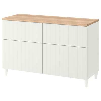 BESTÅ Storage combination w doors/drawers, white/Sutterviken/Kabbarp white, 120x42x76 cm
