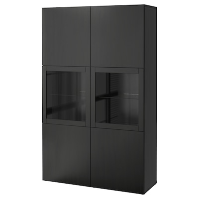 BESTÅ Storage combination w glass doors, black-brown Lappviken/Sindvik black-brown clear glass, 120x42x193 cm