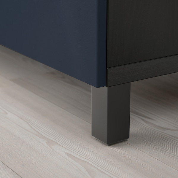 BESTÅ storage combination with doors black-brown/Notviken/Stubbarp blue 120 cm 42 cm 74 cm