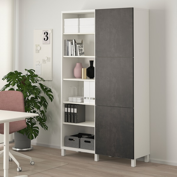 BESTÅ Storage combination with doors, white/Kallviken/Stubbarp concrete effect, 120x42x202 cm