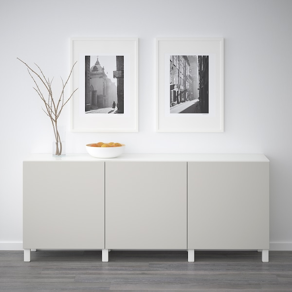 BESTÅ Storage combination with doors, white/Lappviken light grey, 180x40x74 cm