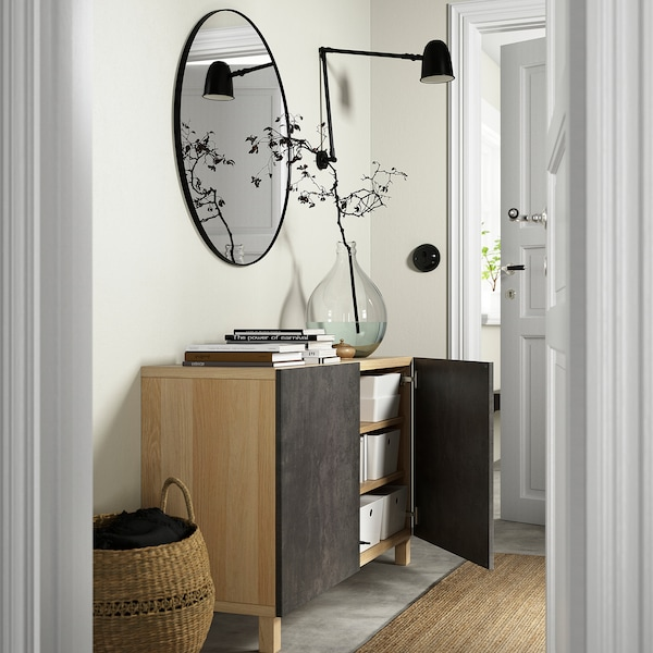 BESTÅ Storage combination with doors, white stained oak effect Kallviken/Stubbarp/dark grey concrete effect, 120x42x74 cm