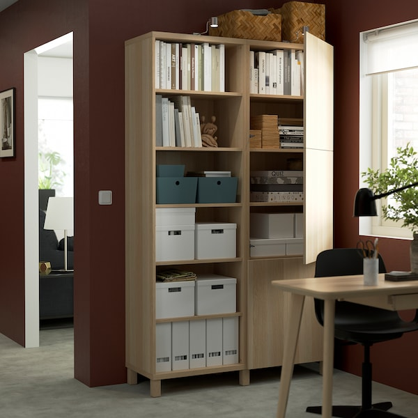 BESTÅ Storage combination with doors, white stained oak effect/Lappviken/Stubbarp white stained oak effect, 120x42x202 cm
