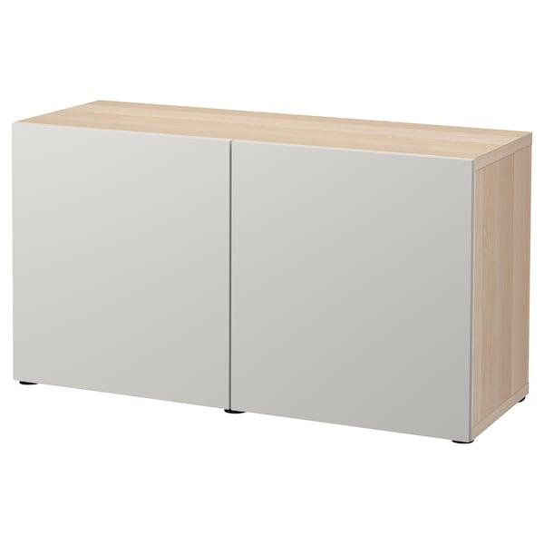 BESTÅ storage combination with doors white stained oak effect/Lappviken light grey 120 cm 42 cm 65 cm