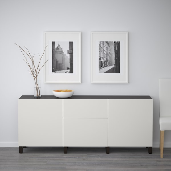 BESTÅ Storage combination with drawers, black-brown/Lappviken light grey, 180x40x74 cm