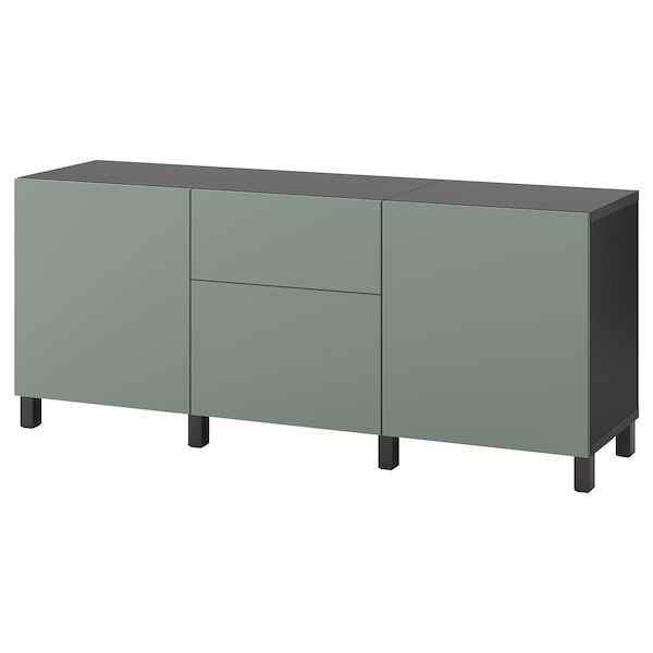 BESTÅ Storage combination with drawers, black-brown/Notviken/Stubbarp grey-green, 180x42x74 cm