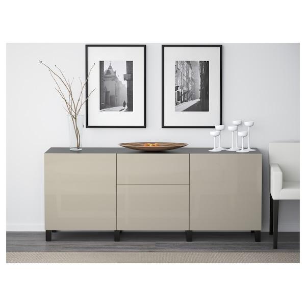 BESTÅ Storage combination with drawers, black-brown/Selsviken/Stubbarp high-gloss/beige, 180x42x74 cm