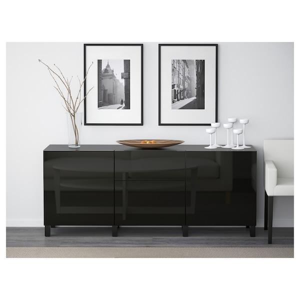 BESTÅ Storage combination with drawers, black-brown/Selsviken/Stubbarp high-gloss/black, 180x42x74 cm