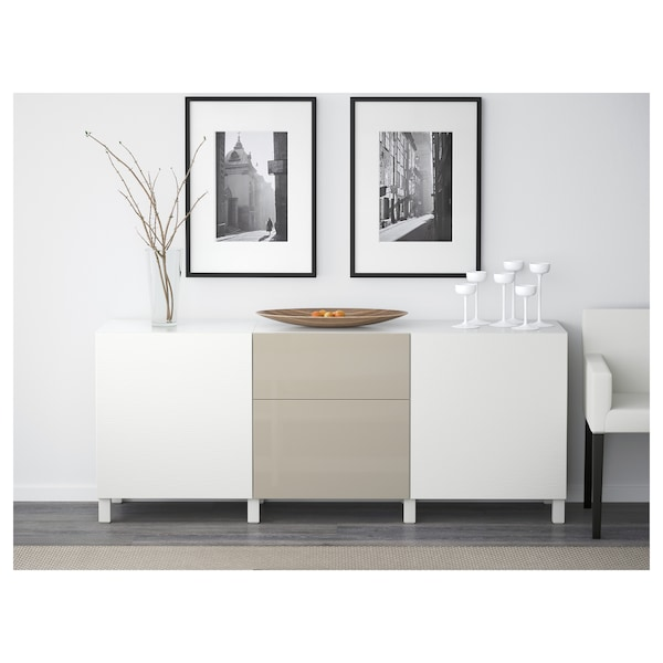 BESTÅ Storage combination with drawers, Laxviken white/Selsviken high-gloss/beige, 180x40x74 cm