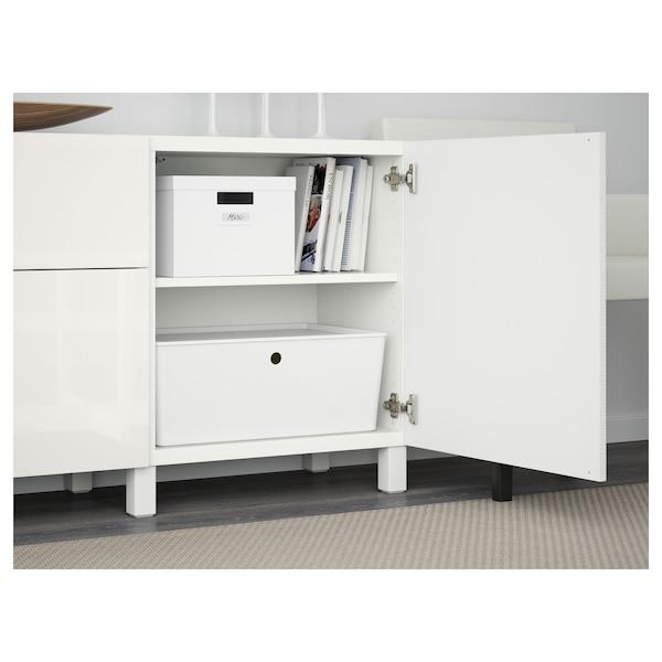 BESTÅ Storage combination with drawers, Laxviken white/Selsviken high-gloss/white, 180x40x74 cm