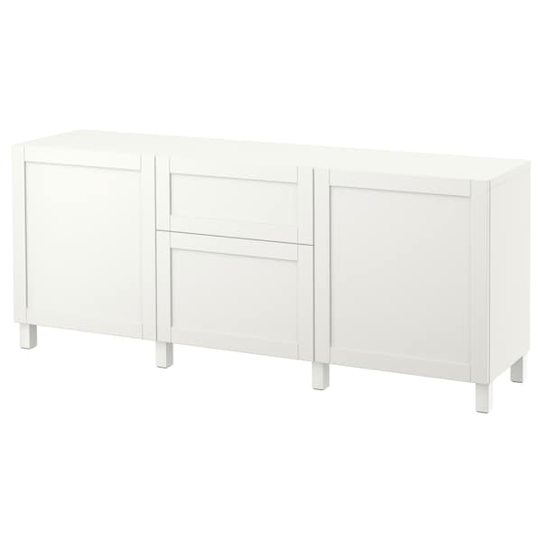 BESTÅ Storage combination with drawers, white/Hanviken white, 180x40x74 cm