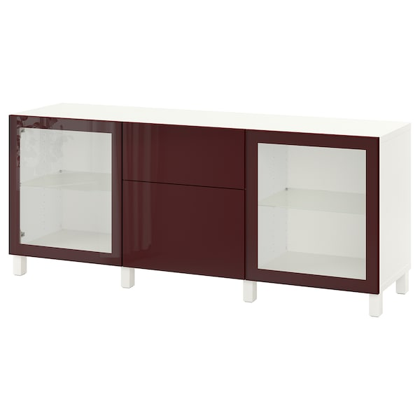BESTÅ Storage combination with drawers, white Selsviken/Stubbarp/dark red-brown clear glass, 180x42x74 cm