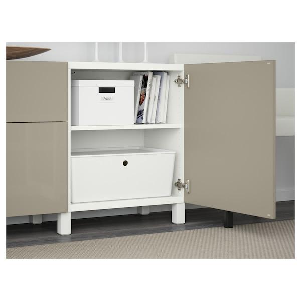 BESTÅ Storage combination with drawers, white/Selsviken/Stubbarp high-gloss/beige, 180x42x74 cm