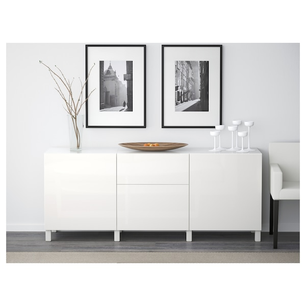 BESTÅ Storage combination with drawers, white/Selsviken/Stubbarp high-gloss/white, 180x42x74 cm