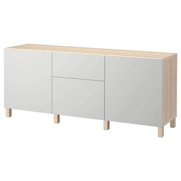 BESTÅ Storage combination with drawers, white stained oak effect/Lappviken light grey, 180x40x74 cm