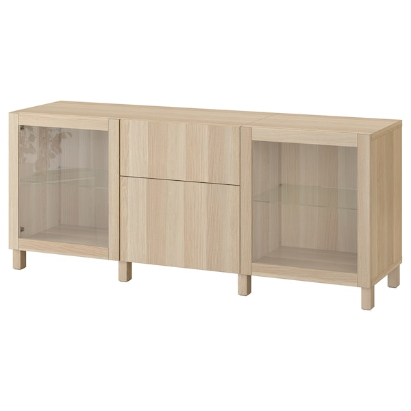 BESTÅ Storage combination with drawers, white stained oak effect Lappviken/Sindvik/Stubbarp white stained oak eff clear glass, 180x42x74 cm