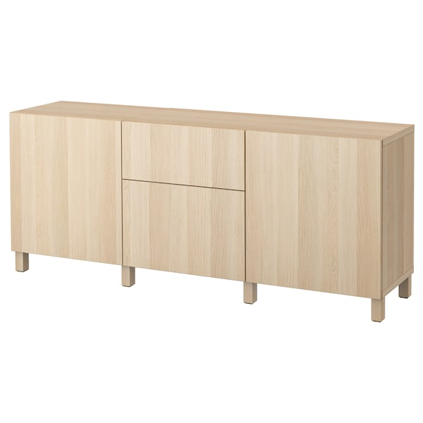 BESTÅ Storage combination with drawers, white stained oak effect/Lappviken/Stubbarp white stained oak effect, 180x42x74 cm