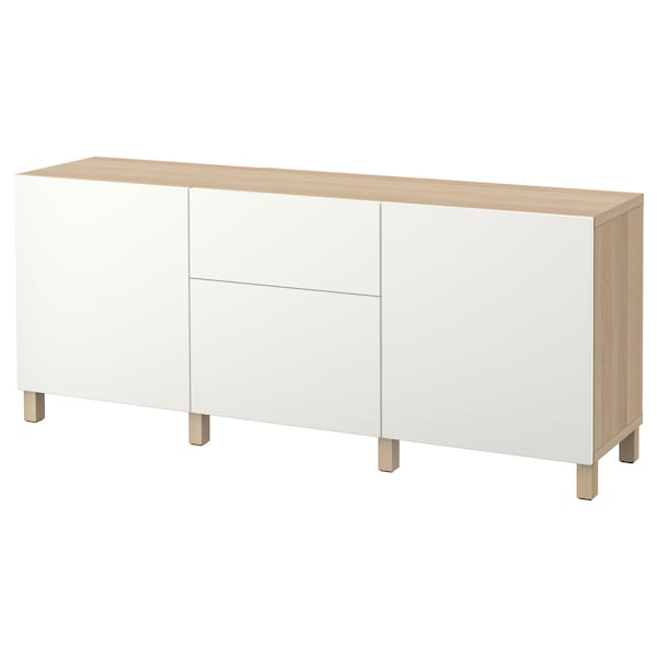 BESTÅ Storage combination with drawers, white stained oak effect/Lappviken white, 180x40x74 cm