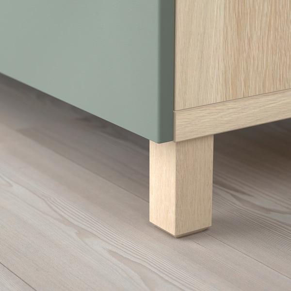 BESTÅ Storage combination with drawers, white stained oak effect/Notviken/Stubbarp grey-green, 180x42x74 cm