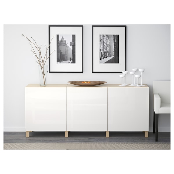 BESTÅ Storage combination with drawers, white stained oak effect/Selsviken/Stubbarp high-gloss/white, 180x42x74 cm