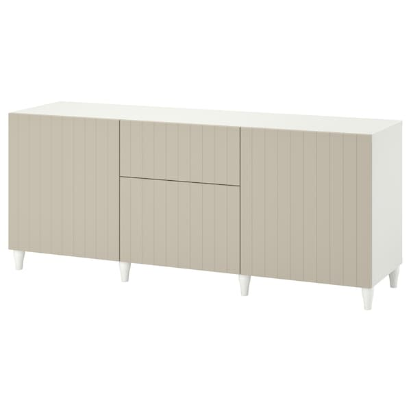 BESTÅ Storage combination with drawers, white/Sutterviken/Kabbarp grey-beige, 180x42x74 cm