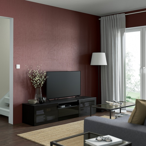 BESTÅ TV bench, black-brown/Selsviken high-gloss/black smoked glass, 180x42x39 cm