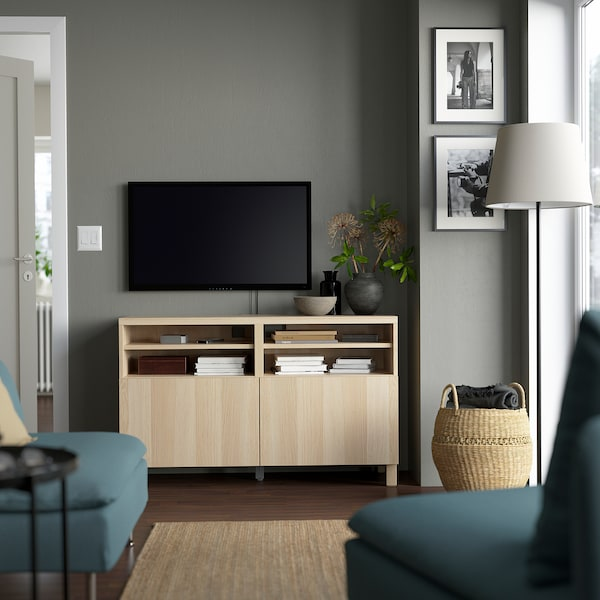 BESTÅ TV bench with doors, white stained oak effect/Lappviken/Stubbarp white stained oak effect, 120x42x74 cm
