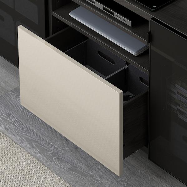 BESTÅ TV bench with drawers, black-brown/Selsviken/Nannarp high-gloss/beige smoked glass, 180x42x74 cm