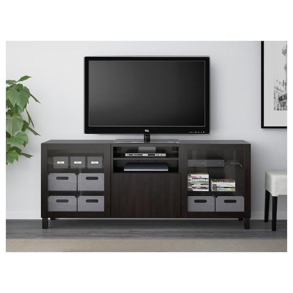 BESTÅ TV bench with drawers, Lappviken/Sindvik black-brown clear glass, 180x40x74 cm