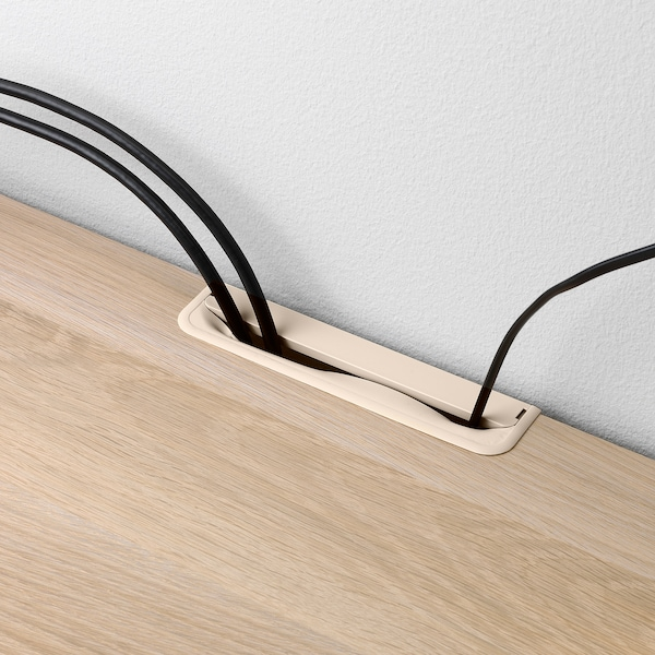 BESTÅ TV bench with drawers, white stained oak effect/Selsviken/Nannarp high-gloss/beige frosted glass, 180x42x74 cm
