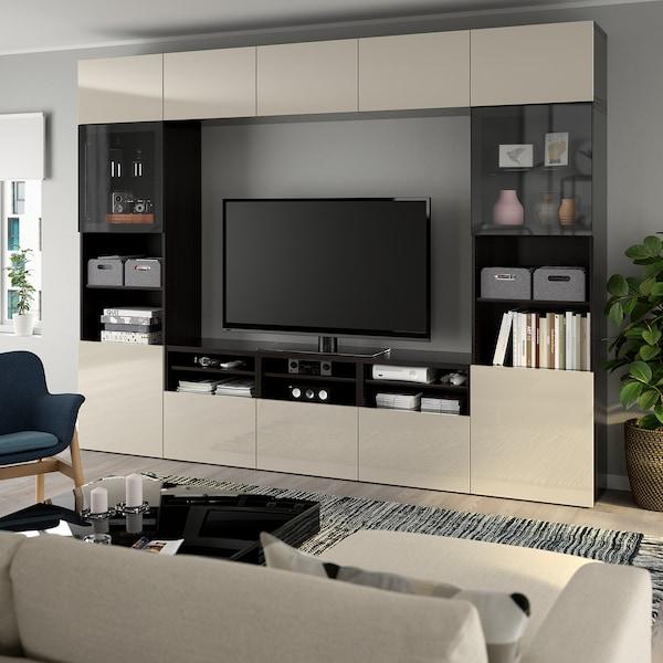 BESTÅ TV storage combination/glass doors, black-brown/Selsviken high-gloss/beige clear glass, 300x40x230 cm