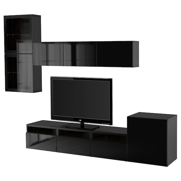 BESTÅ TV storage combination/glass doors, black-brown/Selsviken high-gloss/black clear glass, 300x42x211 cm