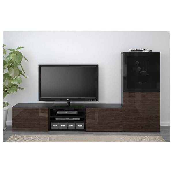 BESTÅ TV storage combination/glass doors, black-brown/Selsviken high-gloss/brown smoked glass, 240x42x129 cm