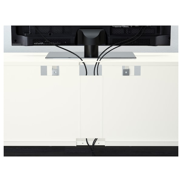 BESTÅ TV storage combination/glass doors, white/Selsviken high-gloss/beige clear glass, 240x40x230 cm