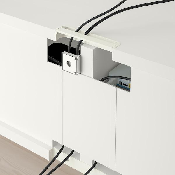 BESTÅ TV storage combination/glass doors, white/Selsviken high-gloss/beige frosted glass, 240x40x230 cm