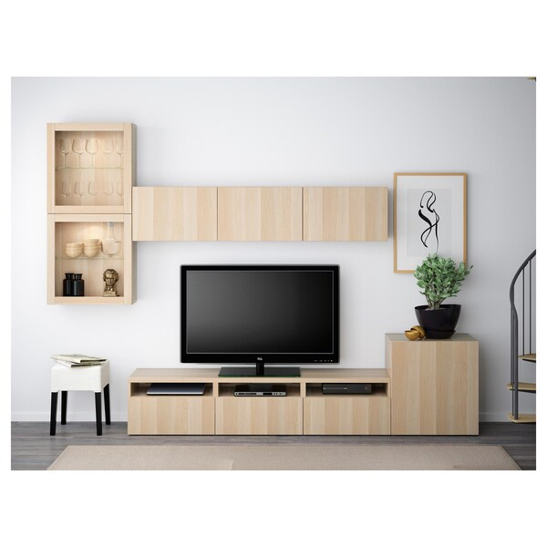 BESTÅ TV storage combination/glass doors, white stained oak effect/Lappviken white stained oak eff clear glass, 300x42x211 cm