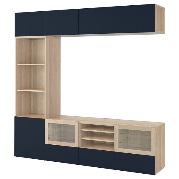 BESTÅ TV storage combination/glass doors, white stained oak effect/Notviken blue clear glass, 240x42x230 cm