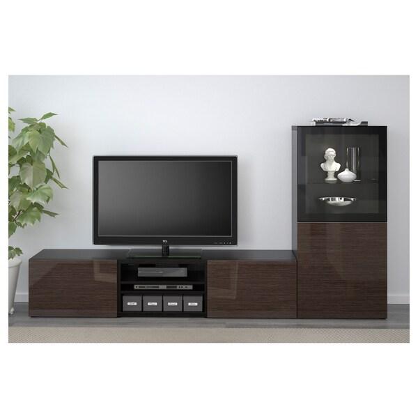 BESTÅ TV storage combination/glass doors black-brown/Selsviken high-gloss/brown clear glass 240 cm 42 cm 129 cm