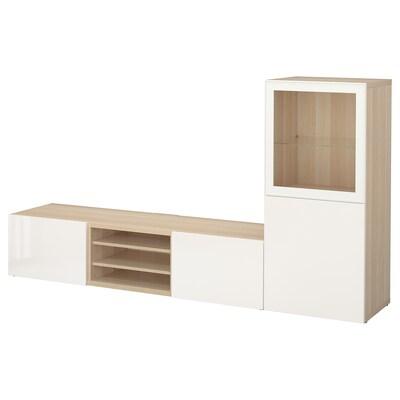 BESTÅ TV storage combination/glass doors white stained oak effect/Selsviken high-gloss/white clear glass 240 cm 42 cm 129 cm