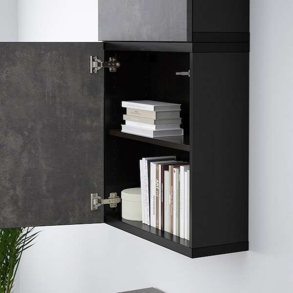 BESTÅ Wall cabinet with 2 doors, black-brown Kallviken/dark grey concrete effect, 60x22x128 cm