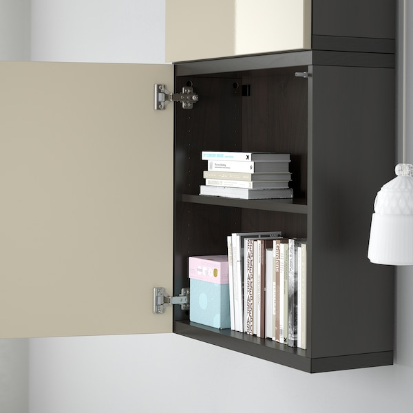 BESTÅ Wall cabinet with 2 doors, black-brown/Selsviken high-gloss/beige, 60x22x128 cm