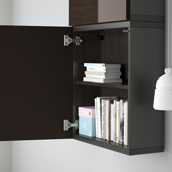 BESTÅ Wall cabinet with 2 doors, black-brown/Selsviken high-gloss/brown, 60x22x128 cm