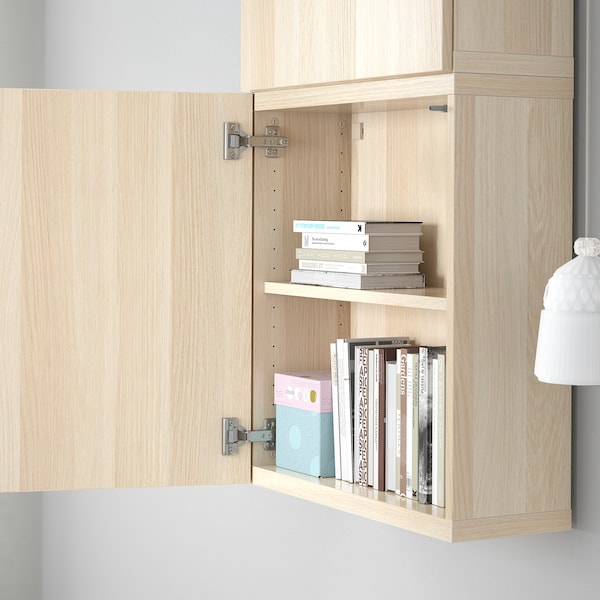 BESTÅ Wall cabinet with 2 doors, Lappviken white stained oak effect, 60x22x128 cm