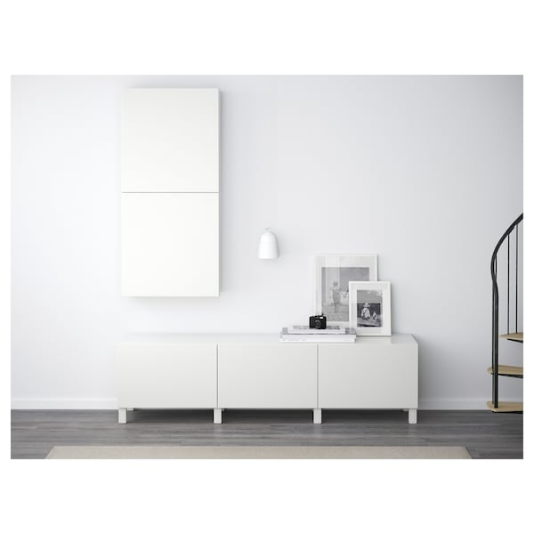 BESTÅ Wall cabinet with 2 doors, Lappviken white, 60x22x128 cm