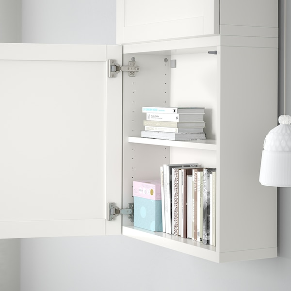 BESTÅ Wall cabinet with 2 doors, white/Hanviken white, 60x22x128 cm