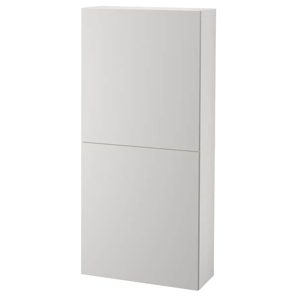 BESTÅ Wall cabinet with 2 doors, white/Lappviken light grey, 60x22x128 cm