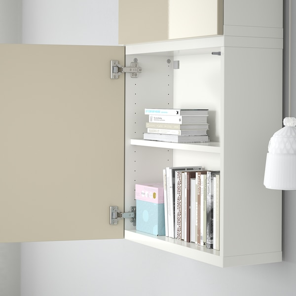 BESTÅ Wall cabinet with 2 doors, white/Selsviken high-gloss/beige, 60x22x128 cm