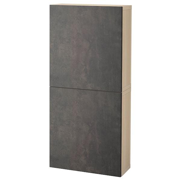 BESTÅ Wall cabinet with 2 doors, white stained oak effect Kallviken/dark grey concrete effect, 60x22x128 cm