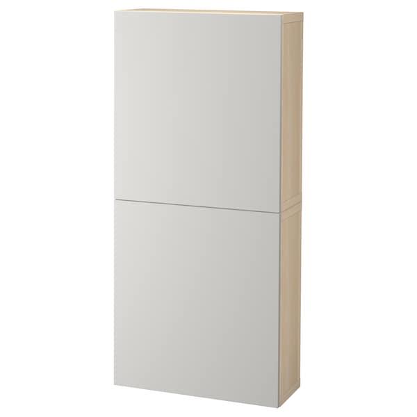 BESTÅ Wall cabinet with 2 doors, white stained oak effect/Lappviken light grey, 60x22x128 cm